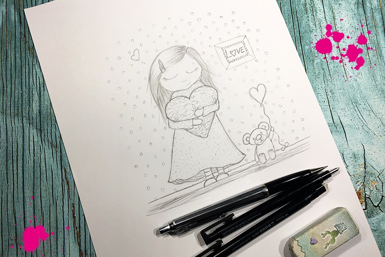 teckand flicka med hjärta i famnen skiss