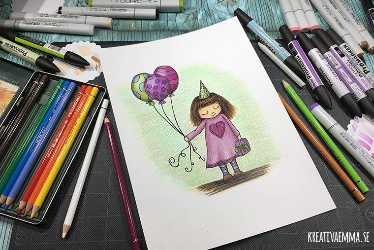 teckning illustration flicka med ballonger