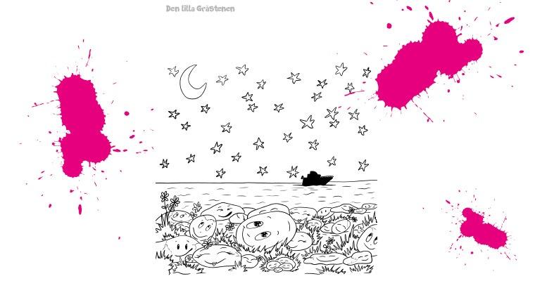 stjärnhimmel den lilla gråstenen målarbild